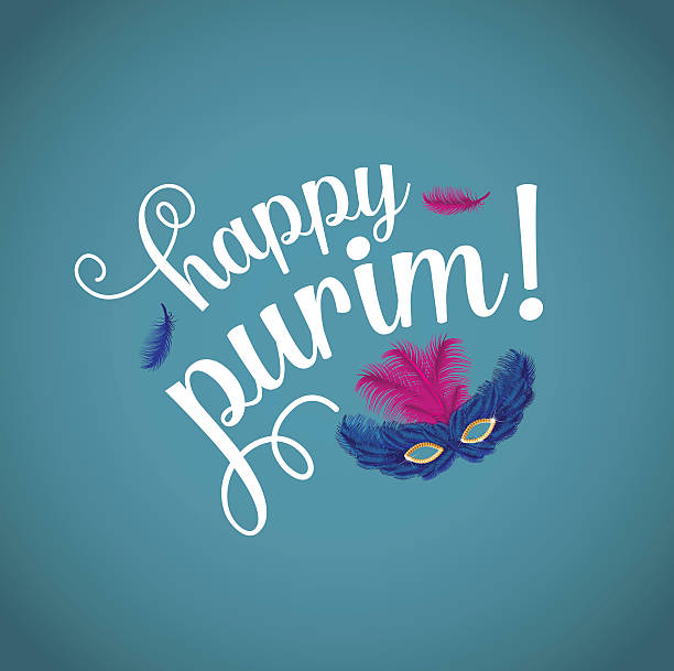 happy purim with feathered mask. - purim stock illustrations, clip art, cartoons, & icons