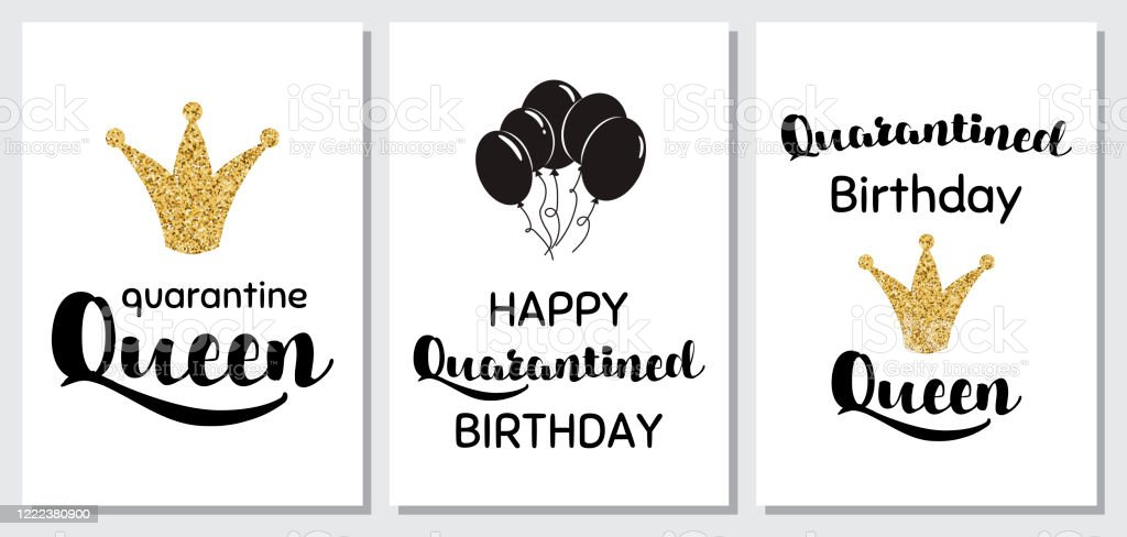 Happy Quarantined Birthday Set Cards Funny Quarantine Party Quotes Home Party Birth Posters Set Virtual Online Celebration Vector Stock Illustration Download Image Now Istock