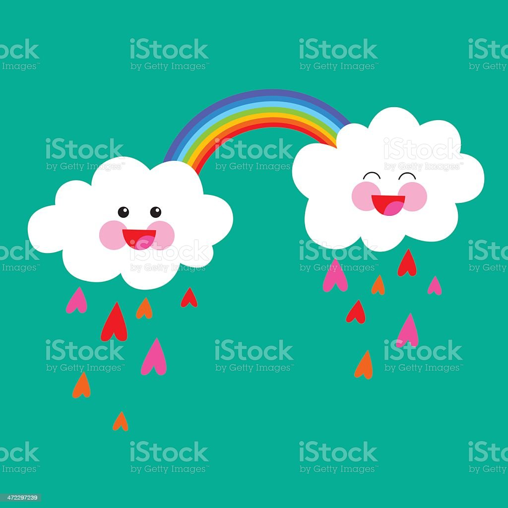Vector illustration of two happy rain clouds in love, with a rainbow...