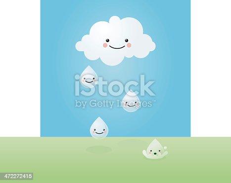 happy cloud and raindrops