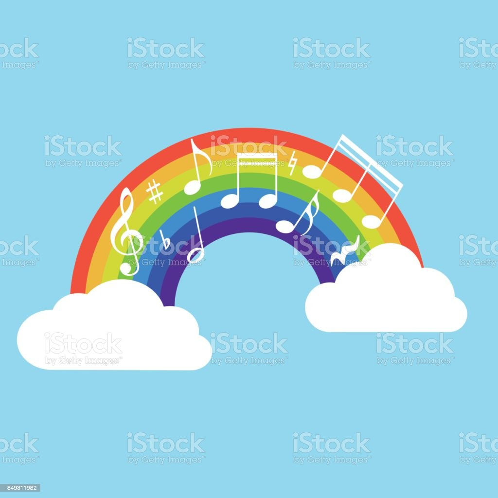 Happy Rainbow With Music Note Isolated On Background Vector