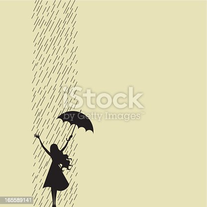 Girl silhouette raising her arms and giving a welcome to the rain. Copy space to write whatever you need.