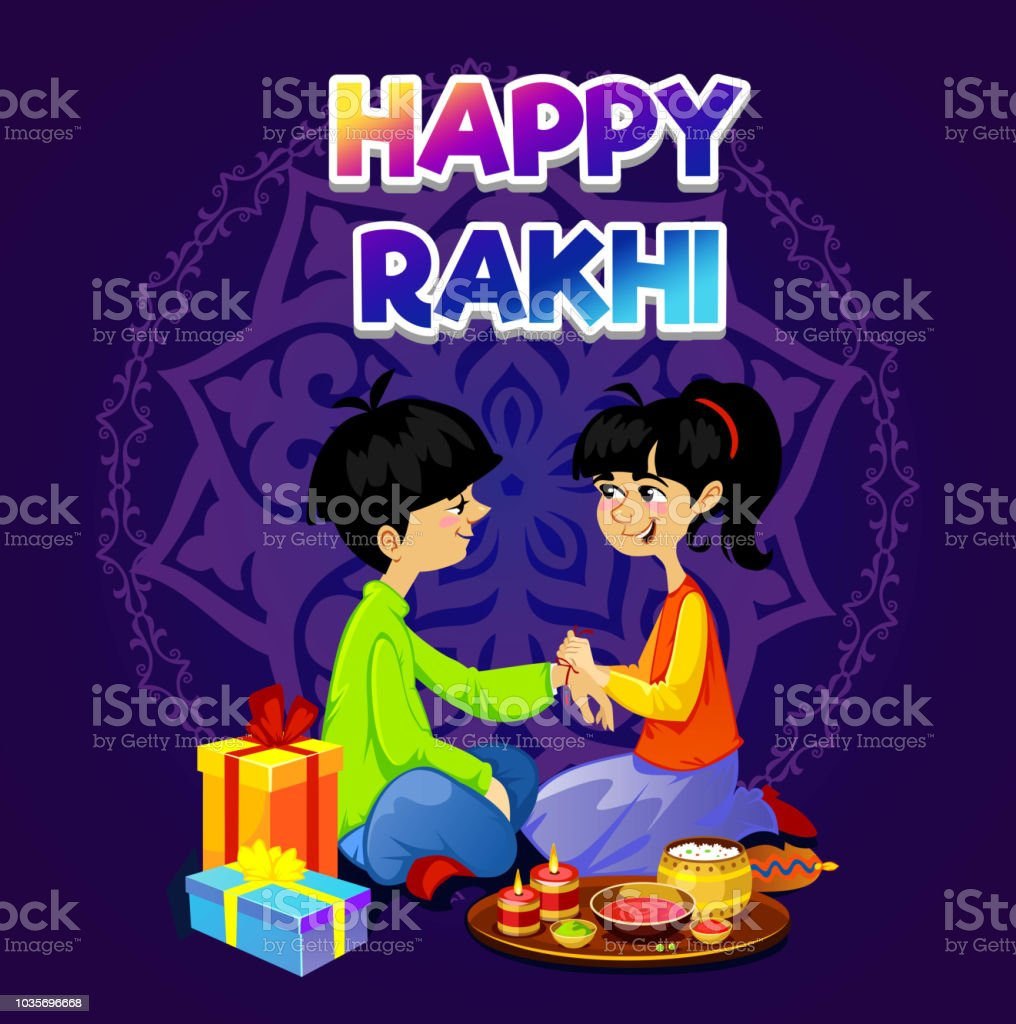 Happy Rakhi Greeting Card Design With Brother And Sister Vector