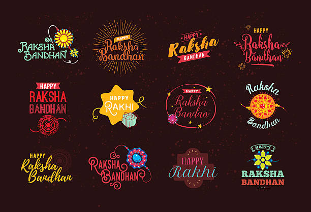Happy Raksha Bandhan emblems set. Happy Raksha Bandhan. Indian holiday. Vector typographic emblems, logo or badges. Usable for greeting cards, banners, print, t-shirts, posters and banners. Happy Rakhi. indian family stock illustrations