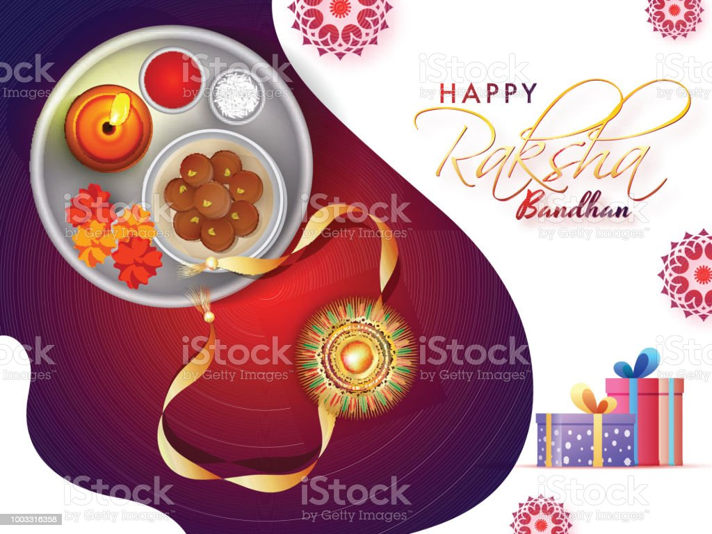 Happy raksha bandhan greeting card design with illustration of rakhi happy raksha bandhan greeting card design with illustration of rakhi worship plate and gift boxes m4hsunfo