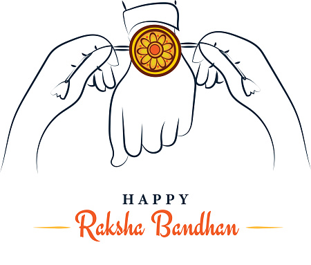Happy Raksha Bandhan, sister tying rakhi to brother sketchy greeting poster, card, vector illustration