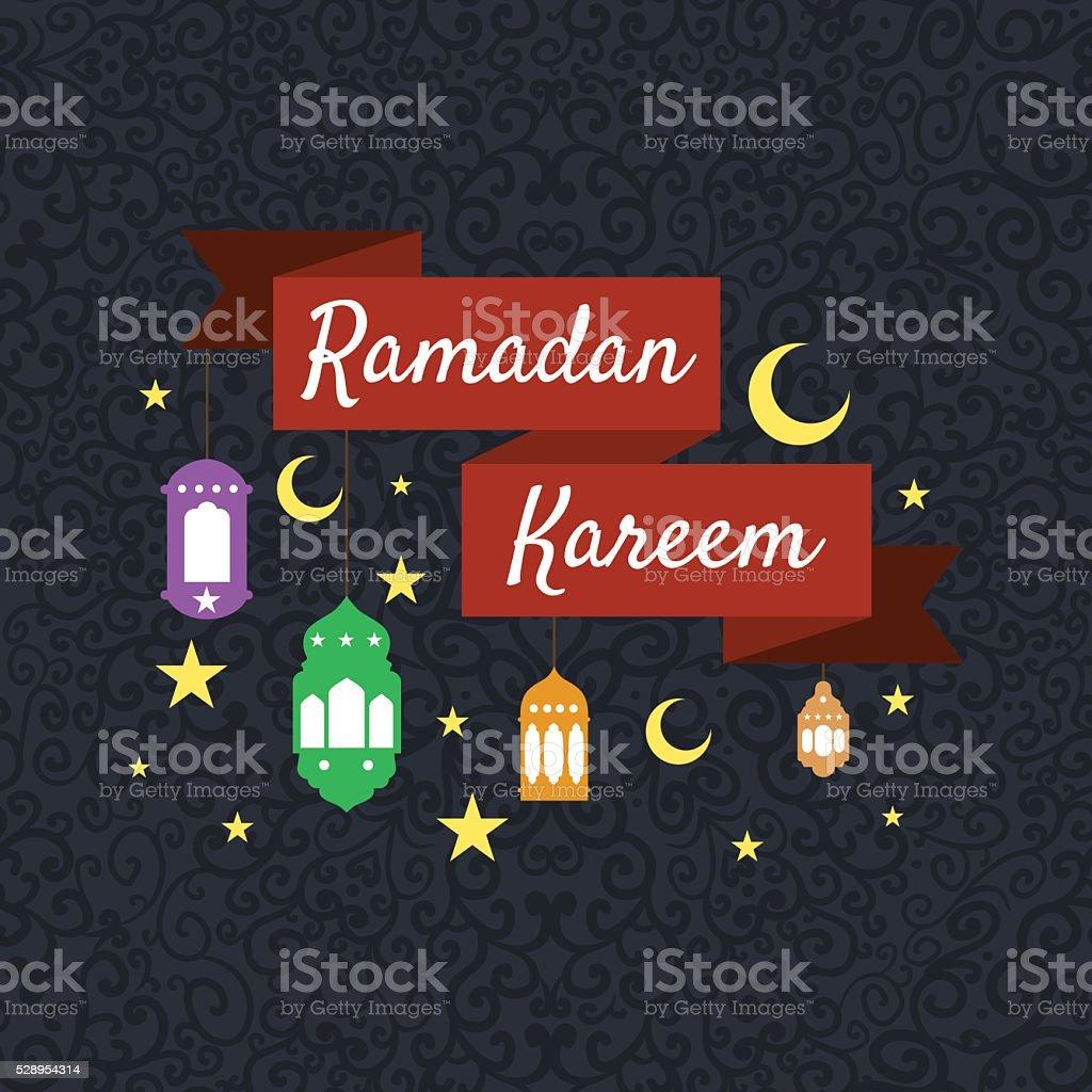 Happy Ramadan Kareem Greeting Background Vector Illustration Stock