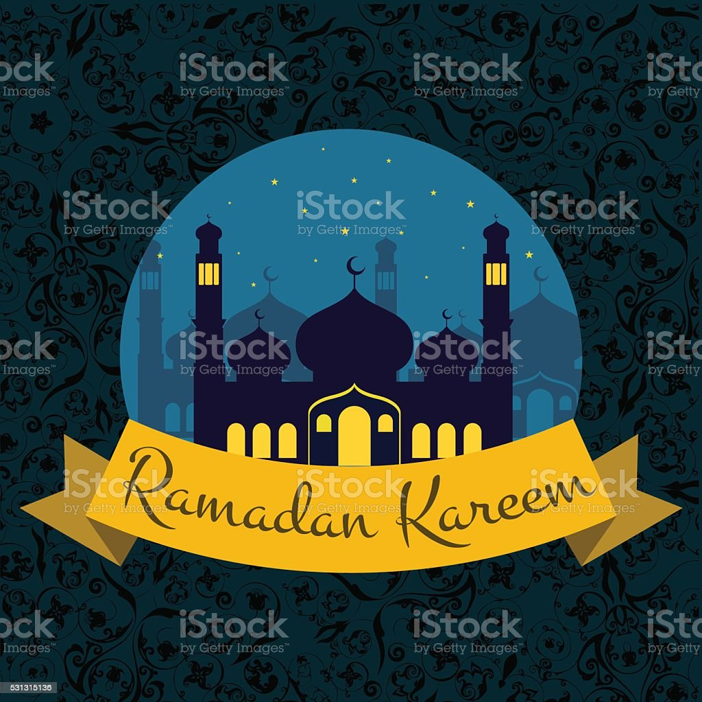 Happy Ramadan Kareem Greeting Background Vector Illustration Stock