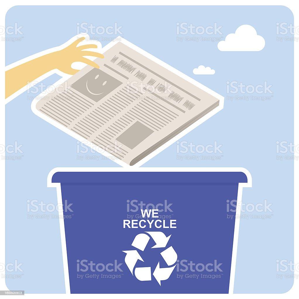 Happy recycling. news newspaper kawaii vector art illustration