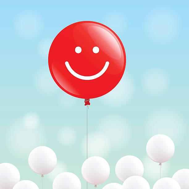 illustrations, cliparts, dessins animés et icônes de heureux ballon rouge - ballon anniversaire smiley
