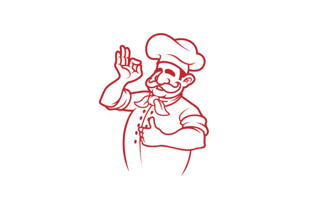 happy red chef logo - chef stock illustrations