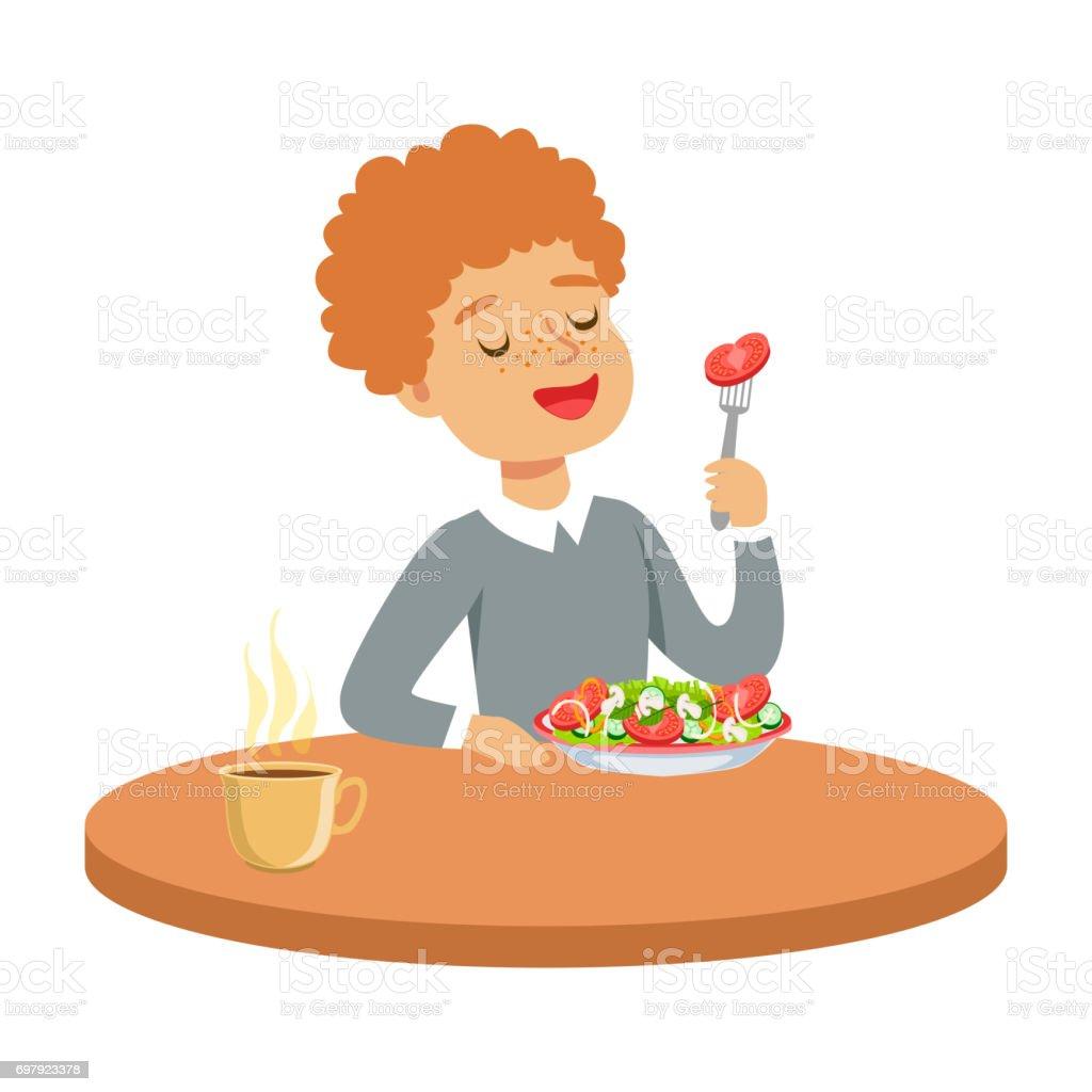Masada Oturan Ve Bir Sebze Salatası Renkli Karakter Vektör çizim