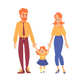 Happy redheaded family with their daughter stands holding hands cartoon style, vector illustration isolated on white background. Red-haired mother and father with little girl child