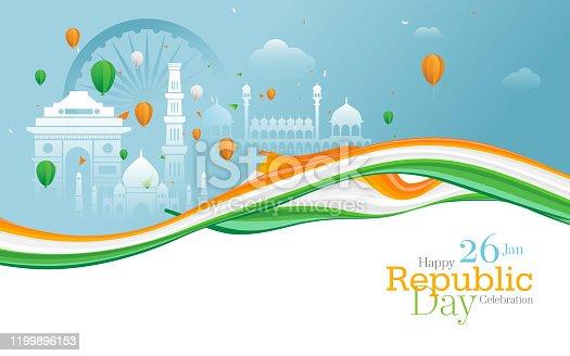 istock Happy Republic Day Celebration Greeting Background 1199896153