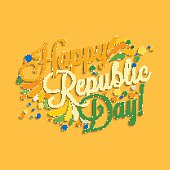 Happy Republic Day hand lettering for your design