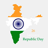 Happy Republic Day in India. Territory and flag of India on a grey background