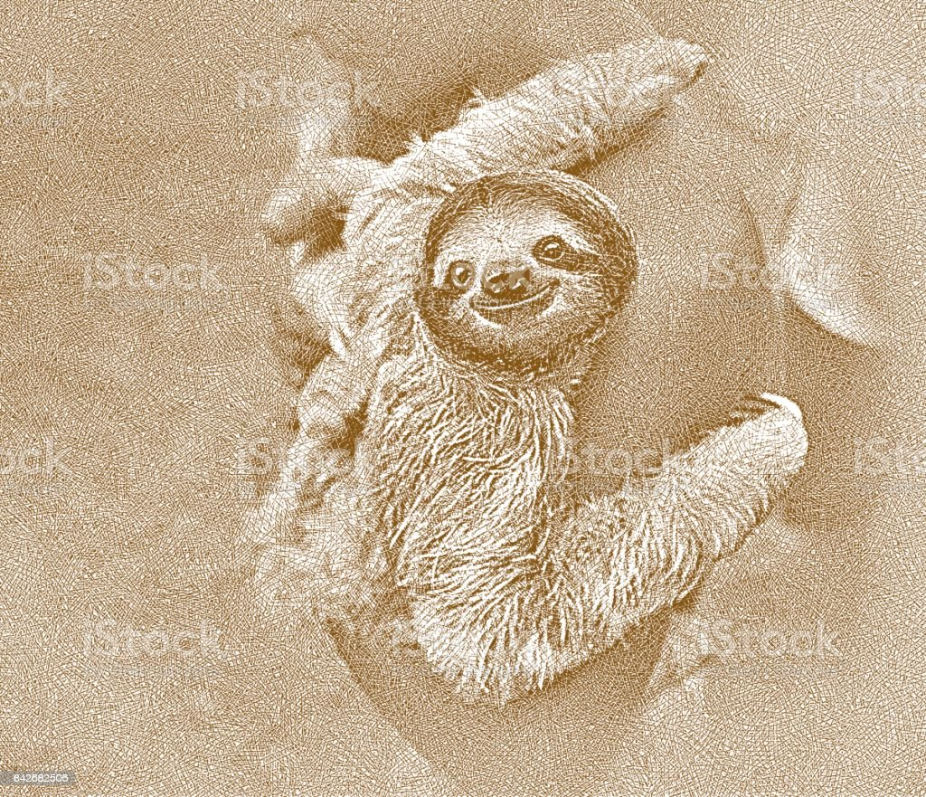 Happy rescued sloth being carried by Panamanian man. vector art illustration