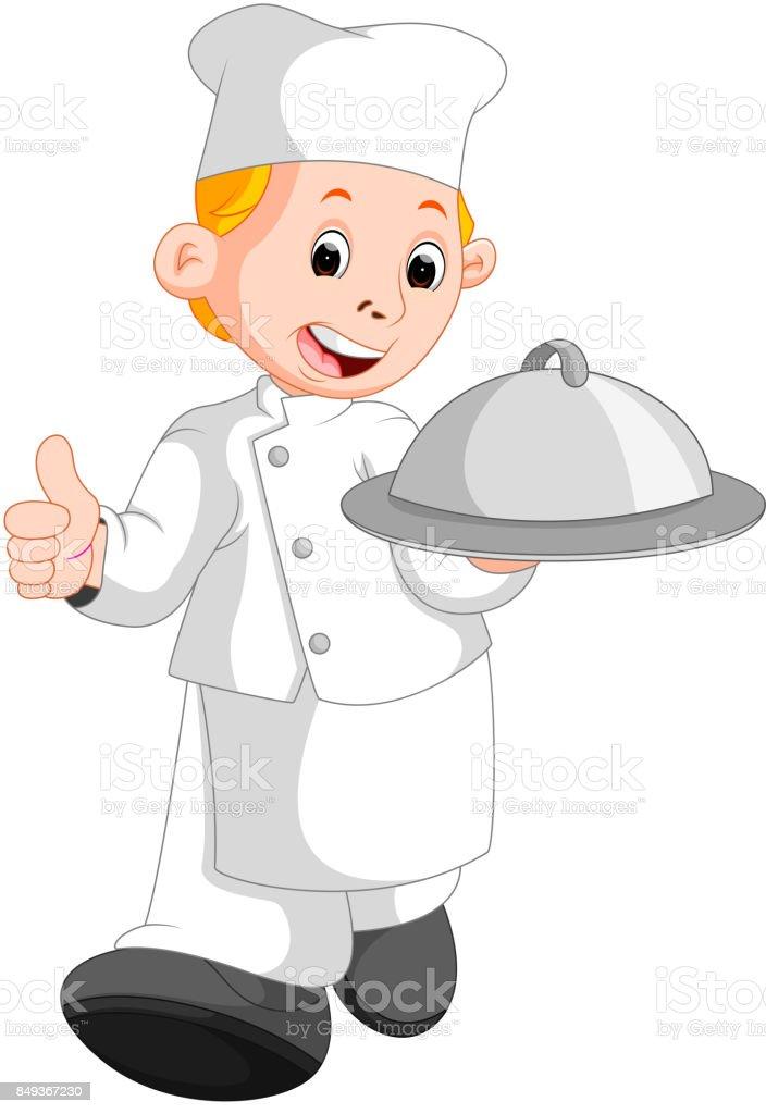 chef do restaurante feliz segurando um prato de comida de metal - ilustração de arte em vetor