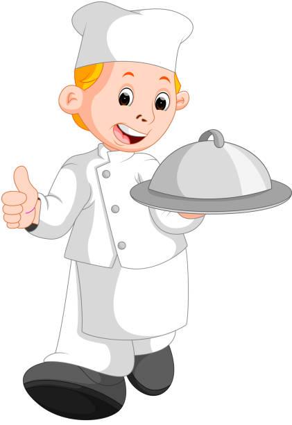 ilustrações, clipart, desenhos animados e ícones de chef do restaurante feliz segurando um prato de comida de metal - fine dining