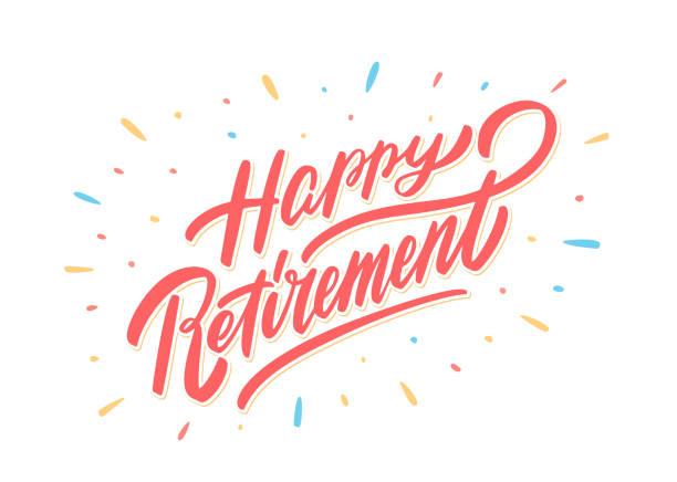 ilustrações, clipart, desenhos animados e ícones de bandeira feliz da aposentadoria. - feliz