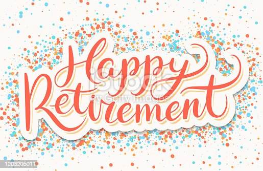 Happy Retirement banner. Vector hand drawn illustration.