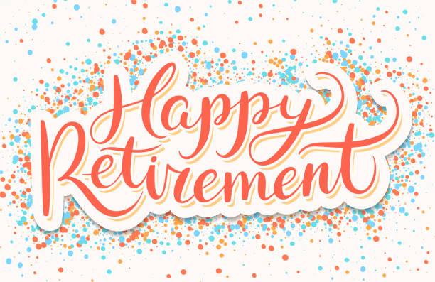 Happy Retirement banner. Happy Retirement banner. Vector hand drawn illustration. retirement stock illustrations