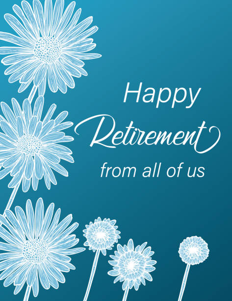 Happy Retirement Card with Botanical Flower Drawings vector art illustration