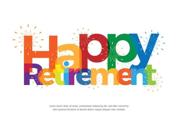 ilustrações, clipart, desenhos animados e ícones de feliz aposentadoria colorida com fogos de artifício em fundo branco - aposentadoria