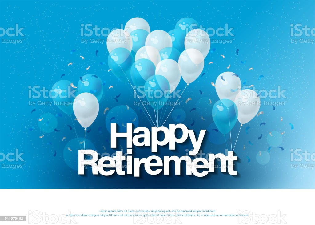 angenehmen Ruhestand Schriftzug Grußkartenvorlage mit Ballons und Konfetti. Design für Einladungskarte, Flyer, Banner, Web, Header. Vektor illustrator – Vektorgrafik