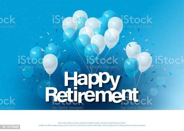 Happy Retirement Greeting Card Lettering Template With Balloon And Confetti Design For Invitation Card Banner Web Header And Flyer Vector Illustrator - Arte vetorial de stock e mais imagens de Aniversário especial