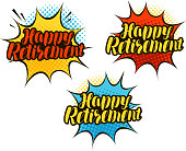 Happy Retirement, lettering. Cartoon vector illustration in pop art retro comic style
