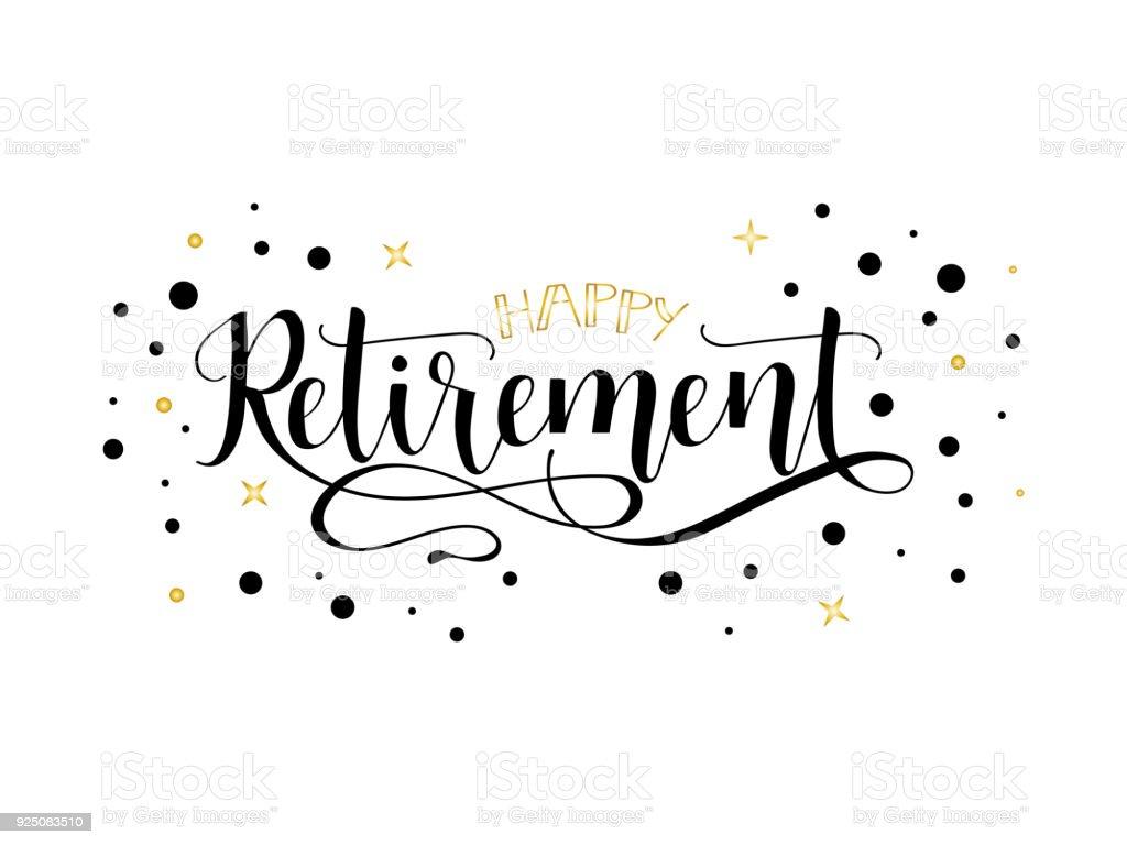 Feliz jubilación. rotulación. Diseño dibujado a mano. ilustración de feliz jubilación rotulación diseño dibujado a mano y más vectores libres de derechos de banco - edificio financiero libre de derechos