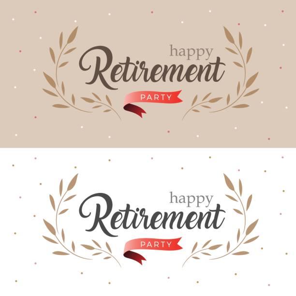 Glücklichen Ruhestand Party elegante Logo-Design und Blatt verziert mit rotem Band, Vintage-Stil – Vektorgrafik