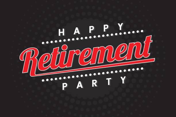 glücklich Abschiedsfeier, Icon, Banner-Design auf schwarzem Hintergrund – Vektorgrafik