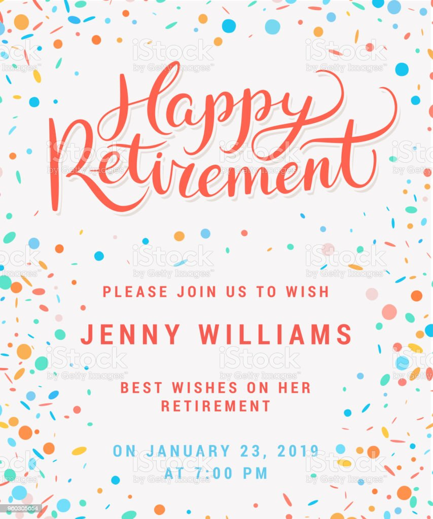 Happy retirement. Party invitation. vector art illustration