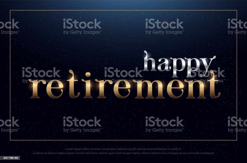 angenehmen Ruhestand Partei Silber und goldenen auf blauem Hintergrund. Ruhestand Symbol Design für Banner, Karte, t-Shirt oder drucken. Vektor-illustration – Vektorgrafik