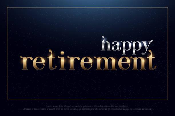 ilustrações, clipart, desenhos animados e ícones de aposentadoria feliz festa prata e ouro sobre fundo azul. design de símbolo de aposentadoria para banner, cartão, t-shirt ou impressão. ilustração vetorial - aposentadoria