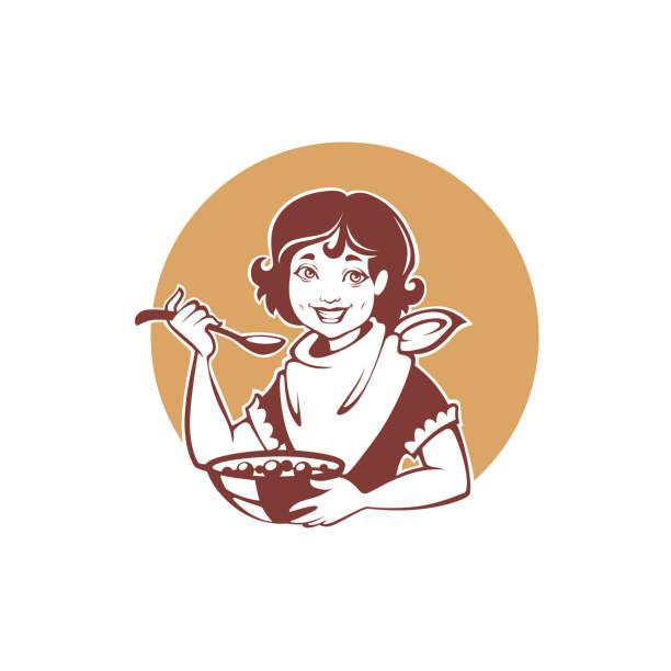 illustrazioni stock, clip art, cartoni animati e icone di tendenza di happy retro girl eating a healthy breakfast, vector illustration for your logo, label, emblem - corn flakes