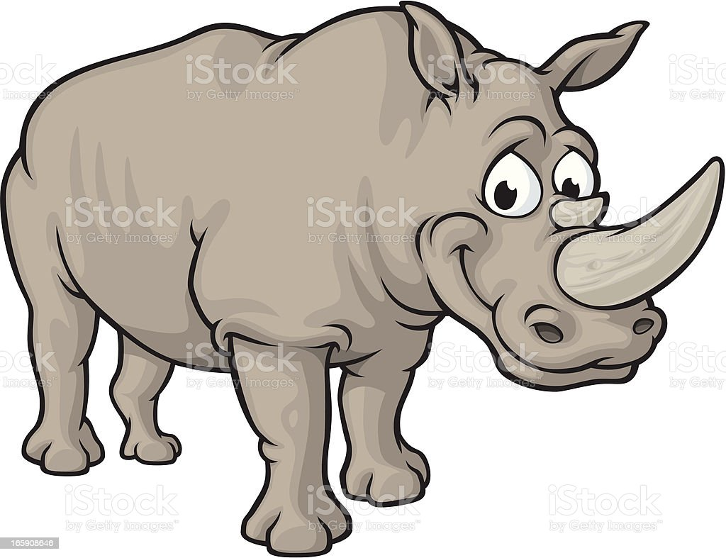 Happy Rhino vector art illustration
