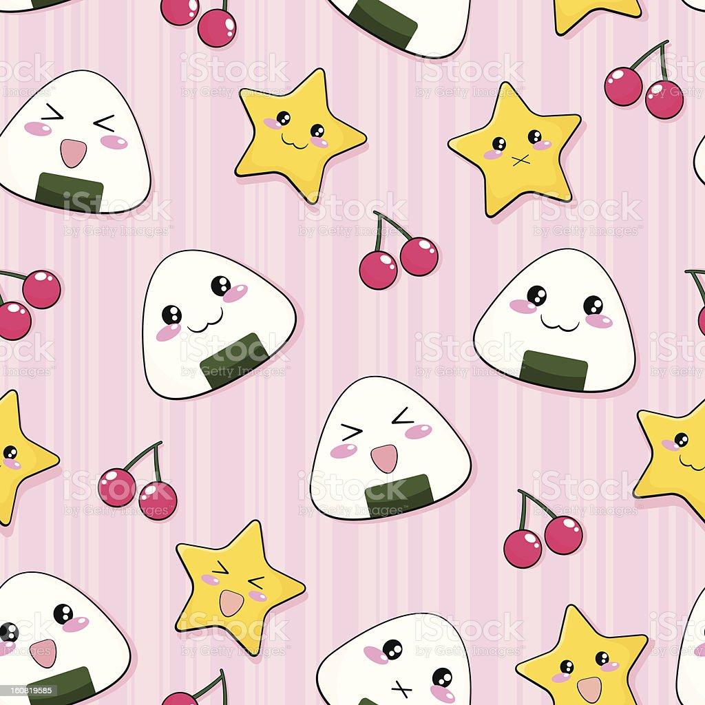 happy rice ball pattern royalty-free stock vector art