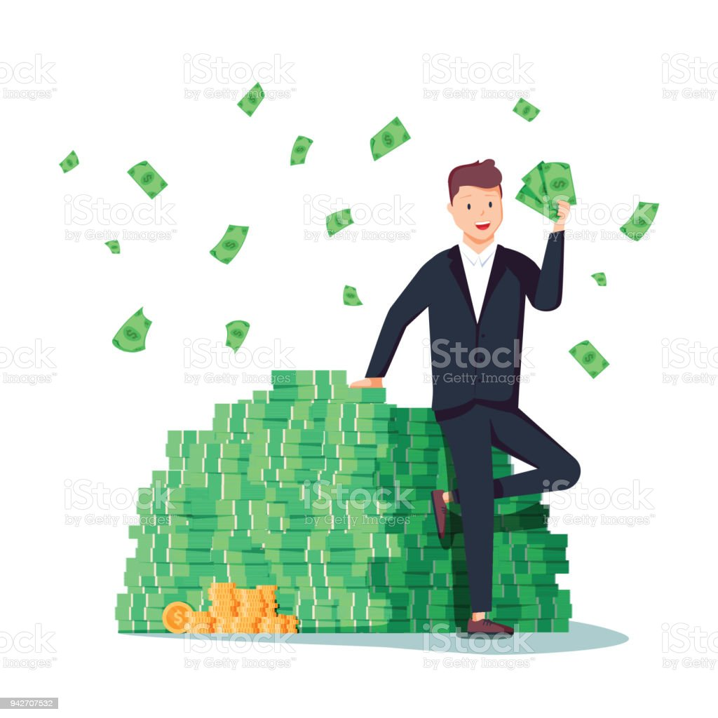 Happy rich man sitting confidently on big heap of stacked money dangling his leg. Billionaire business man vector art illustration
