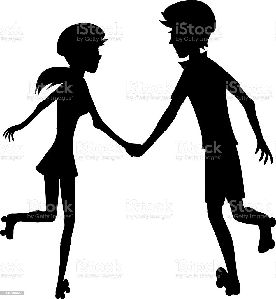 Happy roller-skating couple (silhouette) royalty-free stock vector art