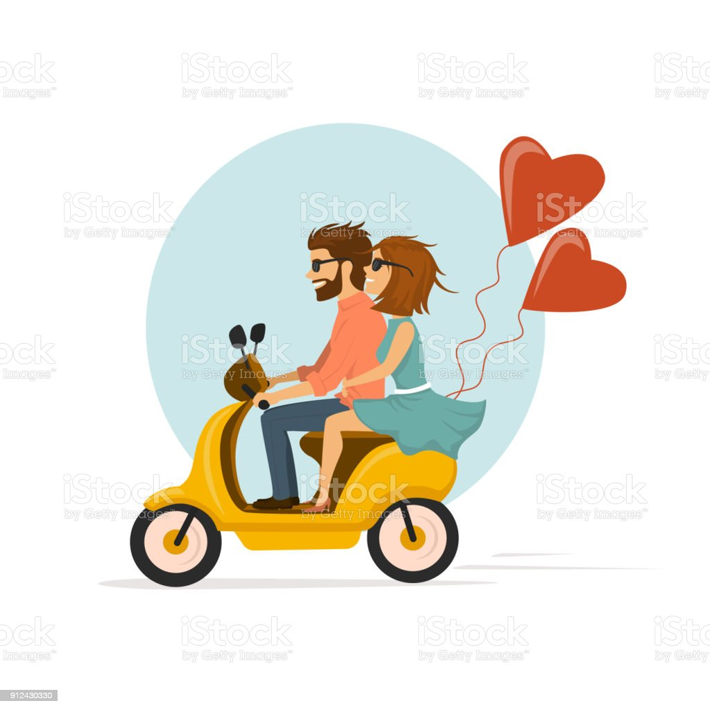 happy romantic cheerful couple riding scooter with heart shaped balloons vector art illustration