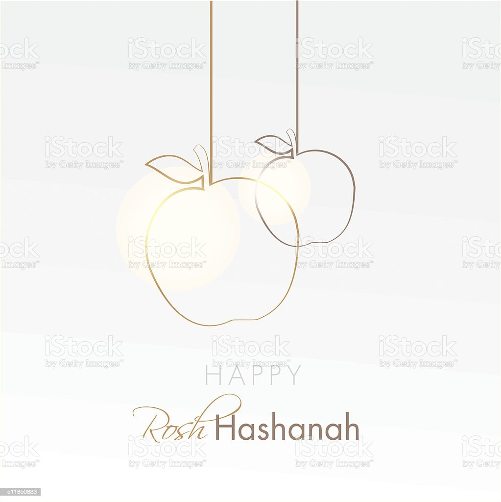 happy rosh hashanah holiday card with hanging apples vector art illustration