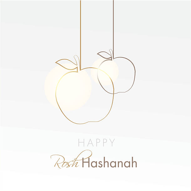 happy rosh hashanah holiday card with hanging apples - rosh hashanah 幅插畫檔、美工圖案、卡通及圖標