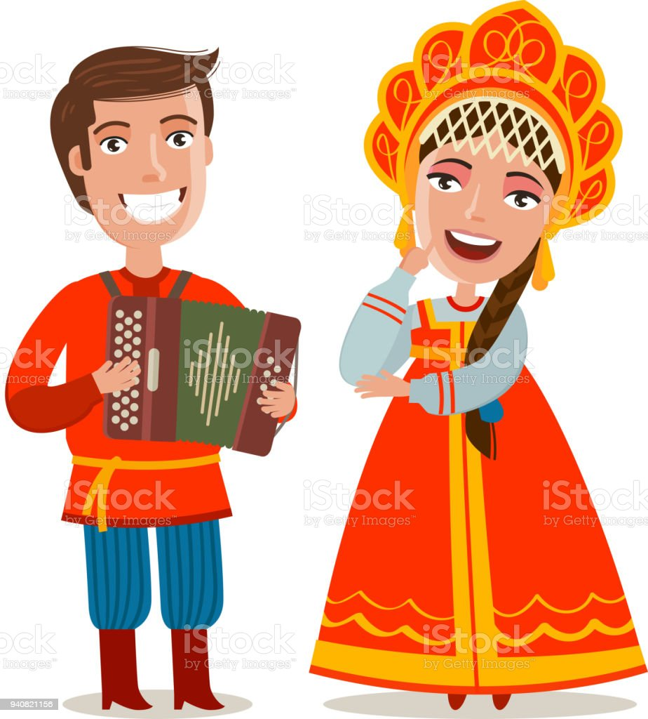 伝統的な民族衣装で幸せなロシア人ロシアモスクワの概念漫画のベクトル図