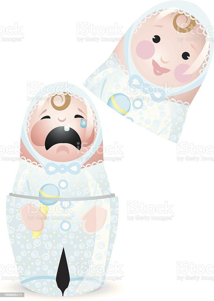 Happy, Sad Matryoshka Baby Boy Doll royalty-free stock vector art