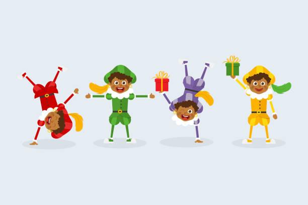 stockillustraties, clipart, cartoons en iconen met 01. gelukkige sinterklaasdag - nederlandse traditionele folklore kinderen met geschenken - cadeau sinterklaas