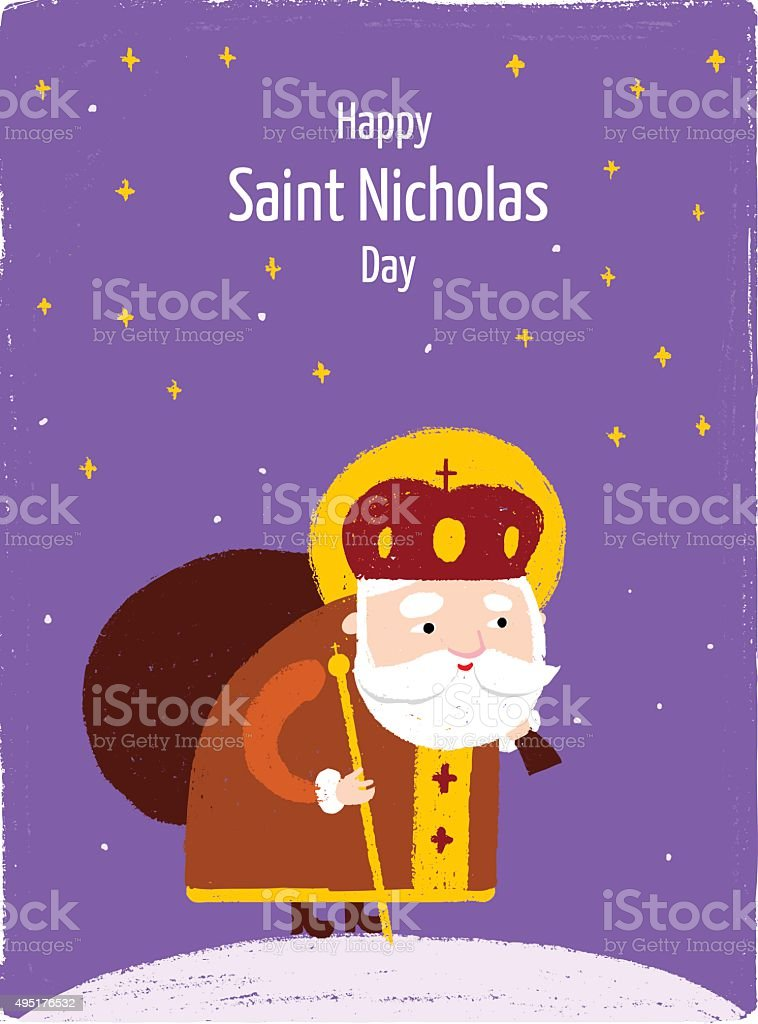 Happy Saint Nicholas Day postcard vector art illustration