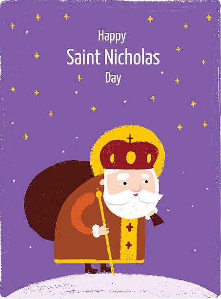 illustrations, cliparts, dessins animés et icônes de heureux jour carte postale saint-nicolas - saint nicolas